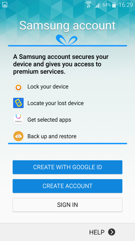 Samsung account signup